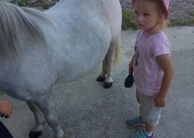 Une petite fille à côté de son poney