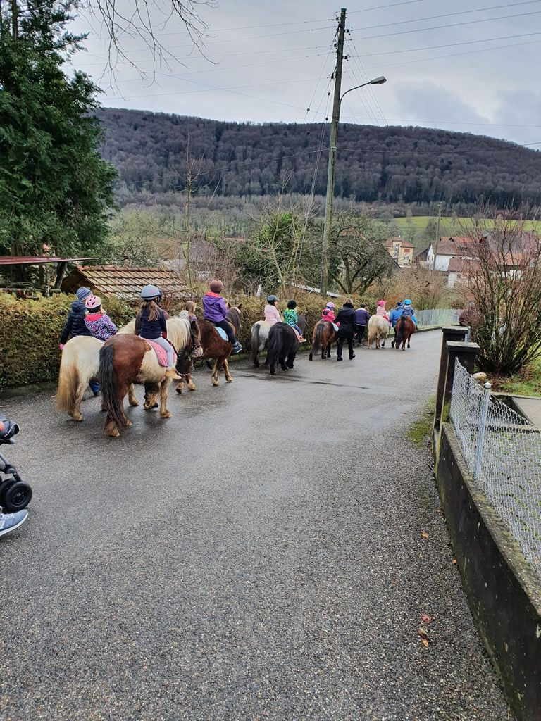 Ensemble d'enfants à poney